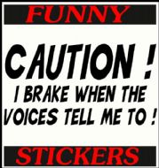 CAUTION I BRAKE WHEN THE VOICES TELL ME TO!